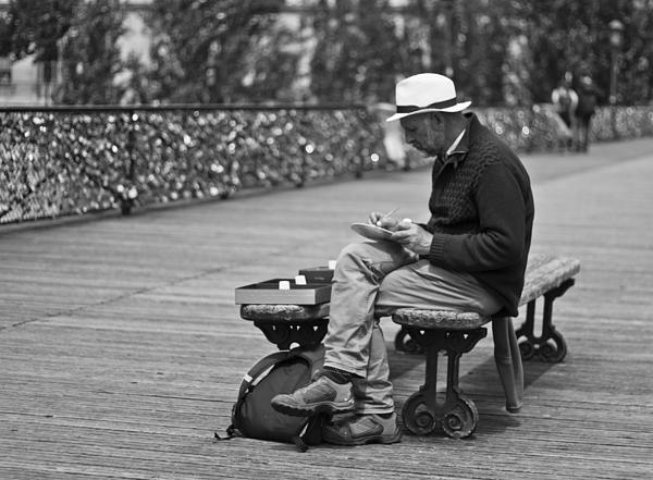 Paris Artist Photograph - Artist On The Bridge - Paris People Series by Georgia Fowler