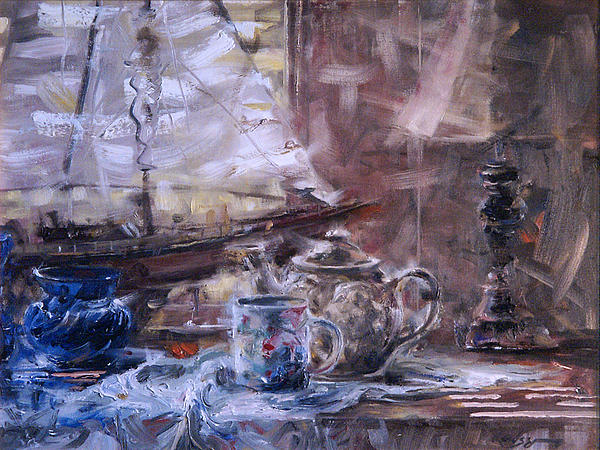Boat Painting - Artists Desk With Boat by Larry Kaiser