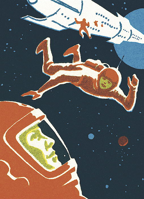 Astronauts In Outer Space Drawing by CSA-Printstock