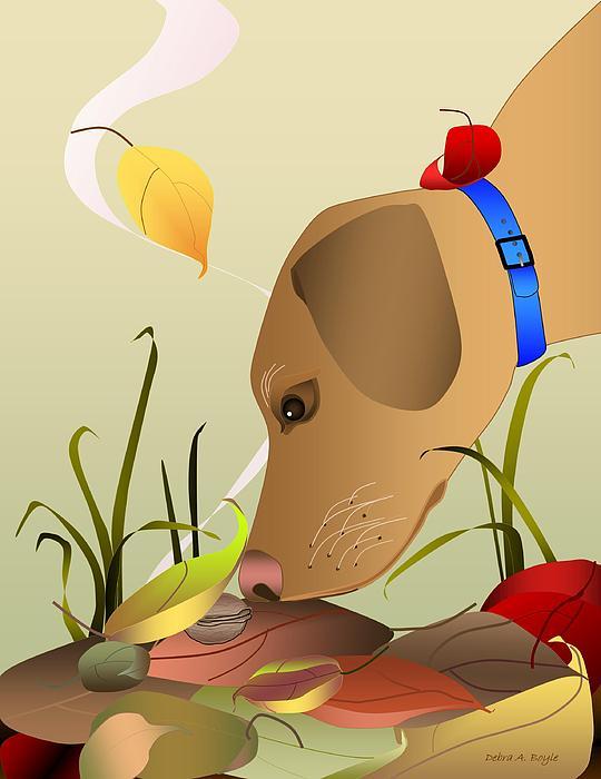 Dog Digital Art - Autumn Find by Debra Boyle