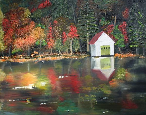 Lake Painting - Autumn - Lake - Reflecton by Jan Dappen