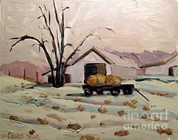 Landscape Painting - Bale Wagon  by Charlie Spear