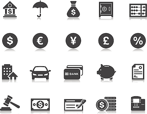 Banking & Finance Icons | Pictoria Series Drawing by Runeer