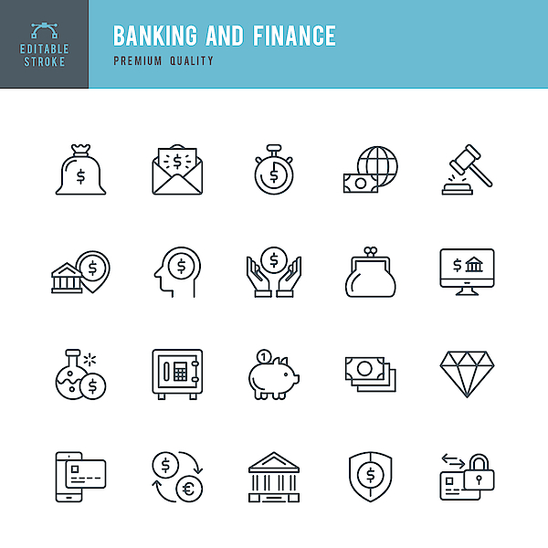 Banking And Finance  - Thin Line Icon Set Drawing by Fonikum