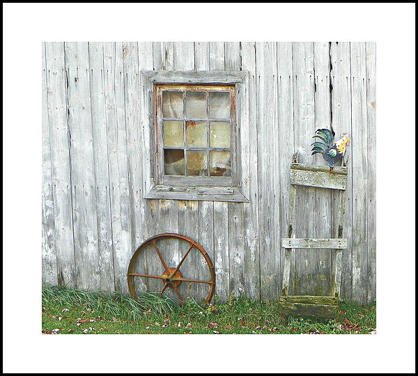 Barn  Wood Window Wagon Wheel Ladder Rooster Tones Textures Country Charming  Photograph - Barnwood Decor by Dianne  Lacourciere