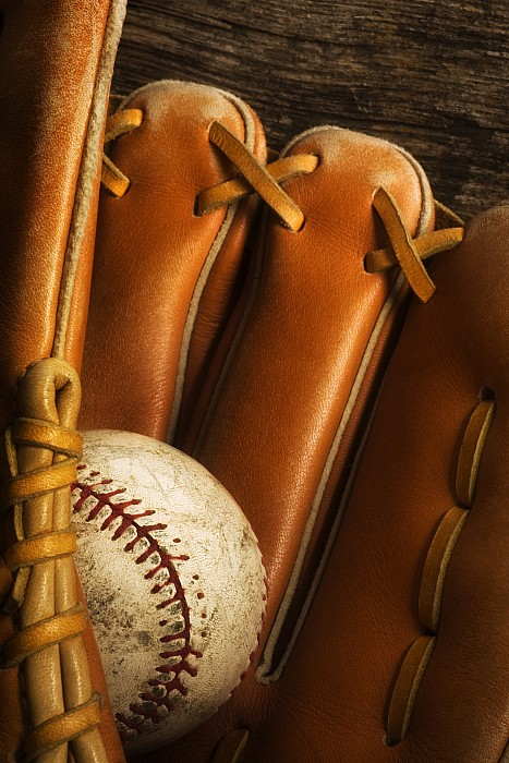 Baseball Photograph - Baseball Glove And Baseball by Chris Knorr