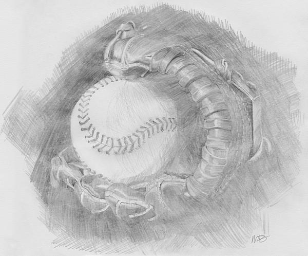 Pencil Drawing - Baseball Glove by Michele Engling