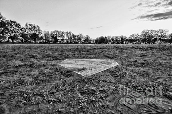 Paul Ward Photograph - Baseball - Home Plate - Black And White by Paul Ward