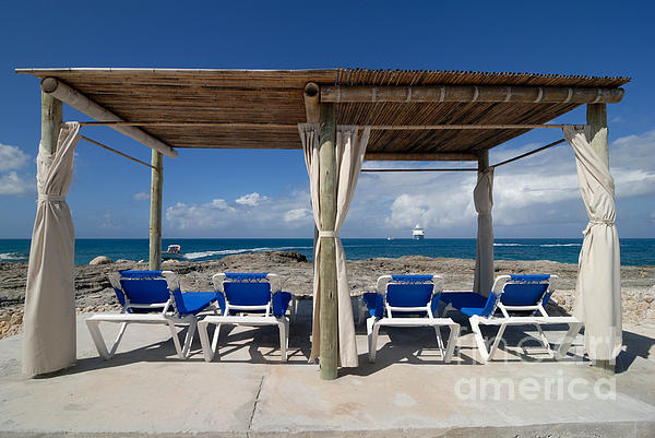 Bahamas Photograph - Beach Cabana With Lounge Chairs by Amy Cicconi
