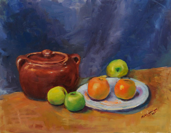 Still Life Painting - Bean Pot And Fruit by Susie Jernigan