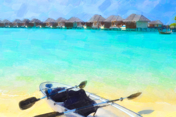 Beach Painting - Beautiful Beach With Water Bungalows At Maldives by Lanjee Chee