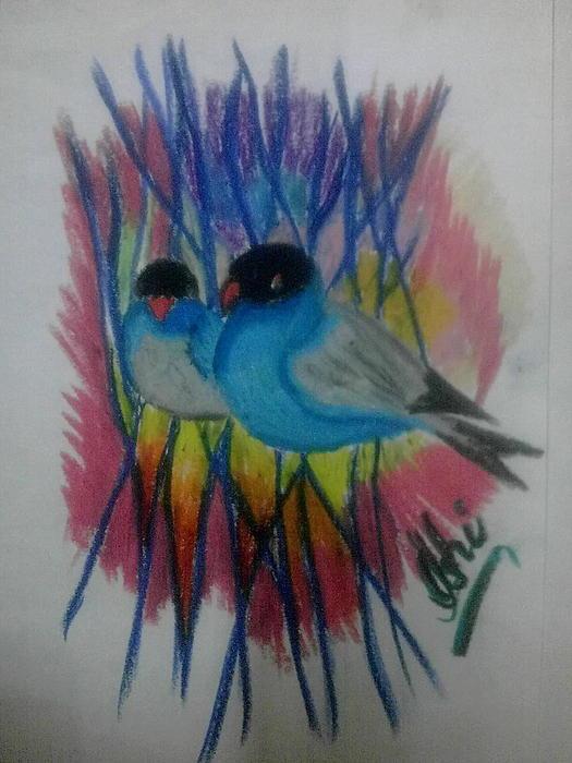 Beautiful Birds Pastel - Beautiful Birds by Syeda Ishrat