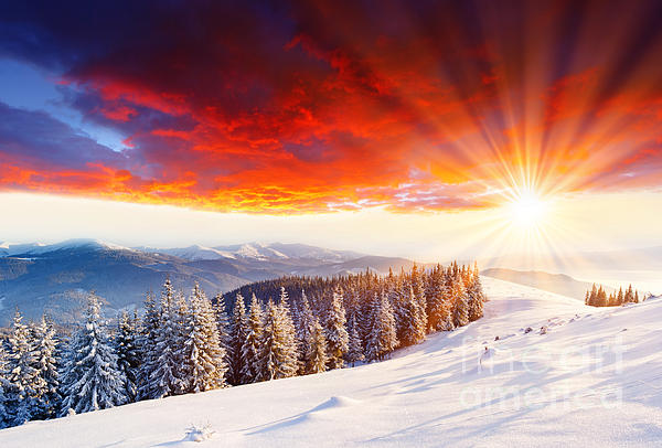 Beautiful Sunset Photograph - Beautiful Sunset In The Winter by Boon Mee