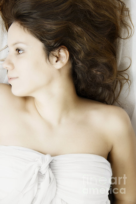 Caucasian; Woman; Lady; Female; Brunette; Beautiful; Elegant; Lovely; Dark Hair; 20s; White; Laying; Sheets; Bed; Fair; Prim; Proper; Feminine; Brown Eyes; Close Up; Strapless Photograph - Beauty In White by Margie Hurwich
