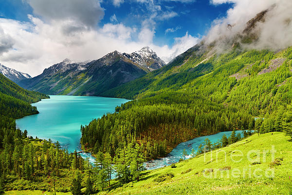 Beauty  Photograph - Beauty Mointain And Lake by Boon Mee