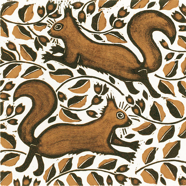 Squirrels Painting - Beechnut Squirrels by Nat Morley
