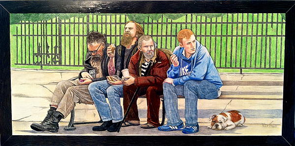 Figures Drawing - Bench People Series-the Guys  by Betsy Frahm