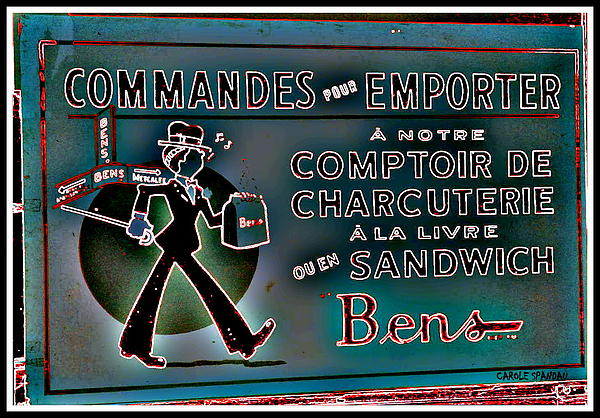 Montreal Painting - Bens Deli Restaurant Fameux Comptoir Charcuterie Smoked Meat Take-0ut Montreal Memorabilia by Carole Spandau
