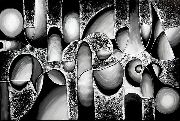 Oil Painting Painting - Best Art Choice Award Original Abstract Oil Painting Modern White Black Contemporary Home Gallery by Emma Lambert