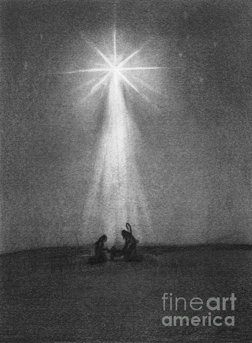 Star Drawing - Bethlehems Star by J Ferwerda