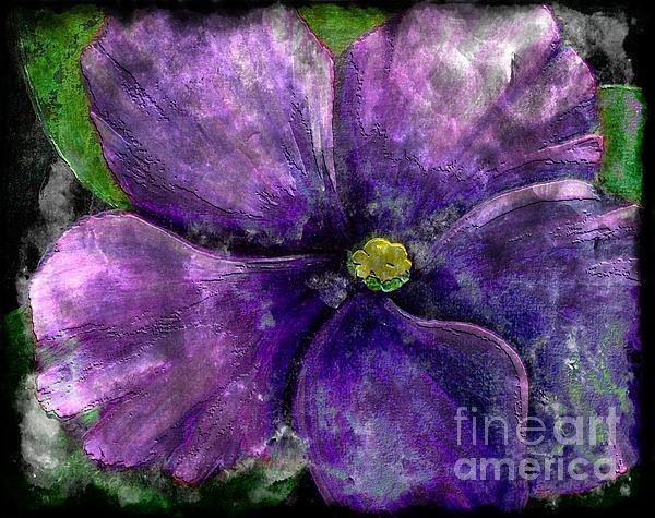 Big African Violet Painting - Big African Violet - Purple Flower - Steel Engraving by Barbara Griffin
