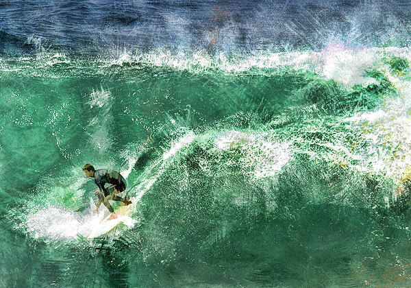 Surfer Painting - Big Wave Surfing by Elaine Plesser