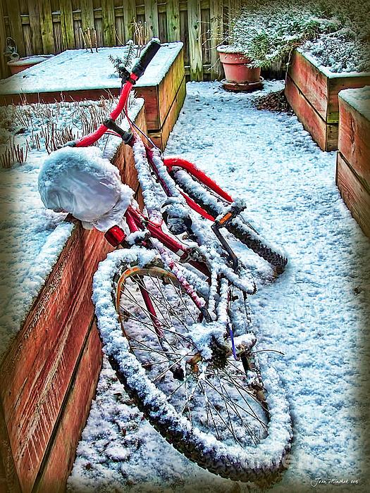 Bike Photograph - Bike In Winter by Joan  Minchak