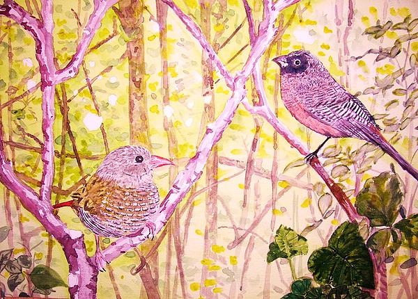 Birds In Tree Painting - Bird Pair by Linda Vaughon