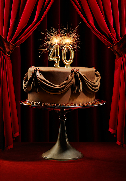 Birthday Cake On Stage With Number 40 Candles Photograph by Lauren Burke