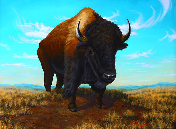 Nature Painting - Bison On The Knoll by Clay Hibbard