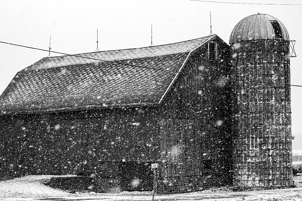 Snow Photograph - Black And White Barn by Tim Buisman