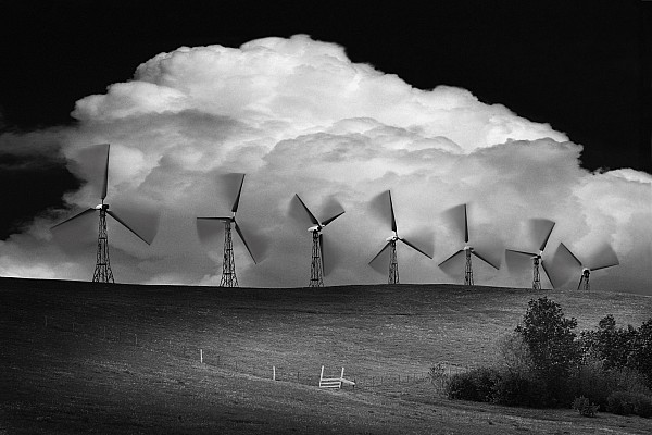 B&w Photograph - Black And White Of Wind Generators With by Don Hammond