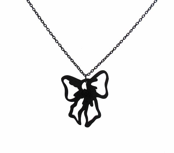 Jewelry Jewelry - Black Bow Pendant Necklace by Rony Bank