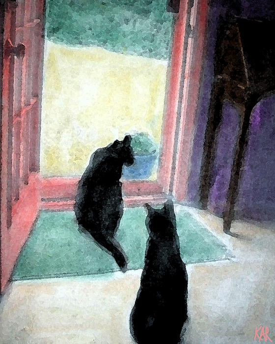 Cats Drawing - Black Cats by Art by Kar