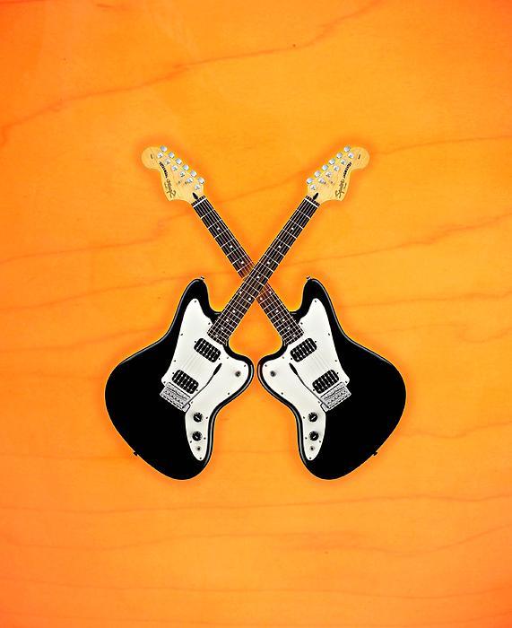 Fender Digital Art - Black Fender Jaguar  Guitar by Doron Mafdoos