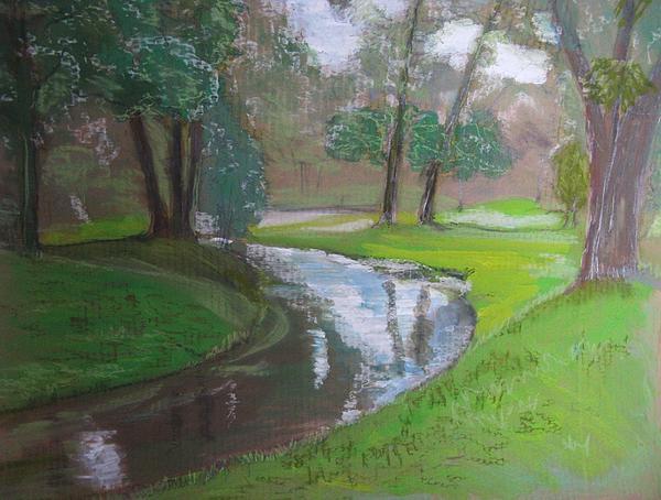 Landscape Painting - Black Hancza River by Agata Suchocka-Wachowska