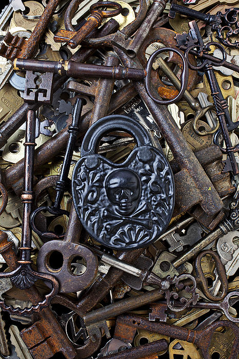 Old Photograph - Black Skull And Bones Lock by Garry Gay