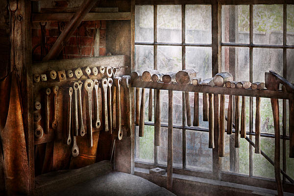 Blacksmith Photograph - Black Smith - Draw Plates And Hammers  by Mike Savad