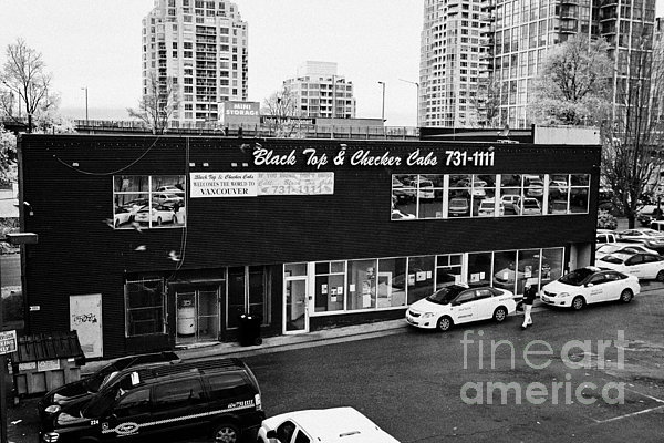 Black Photograph - black top and checker cabs office Vancouver BC Canada by Joe Fox