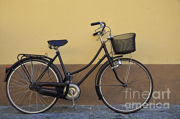 Bicycle Photograph - Black Woman Bicycle On Wall by Sami Sarkis