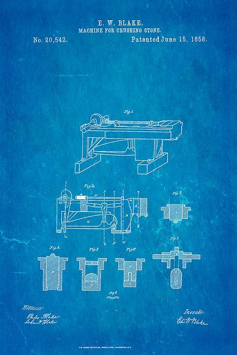 Construction Photograph - Blake Stone Crushing Patent 1858 Blueprint by Ian Monk