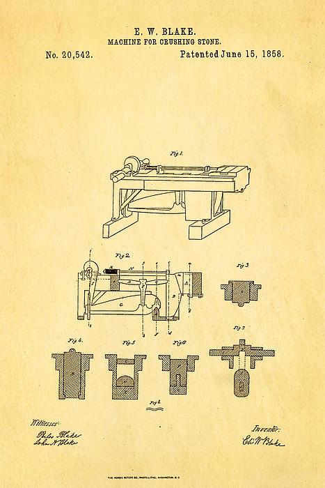 Construction Photograph - Blake Stone Crushing Patent 1858 by Ian Monk