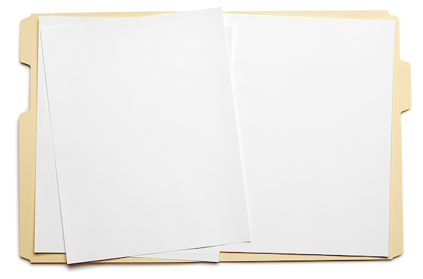 Blank Paper In An Open File Folder On White Background Photograph by Dny59