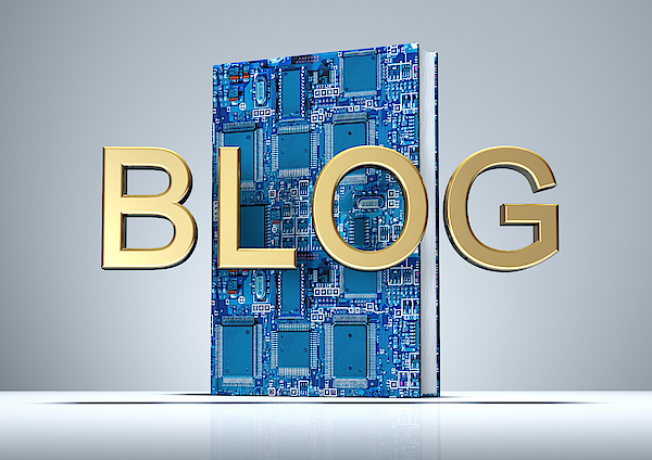 Blog In Golden Letters With Digital Book Photograph by Artpartner-images
