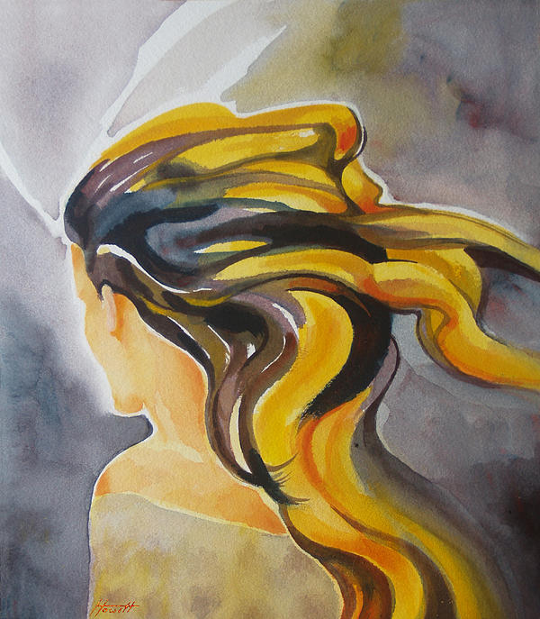 Girl Painting - Blowin In The Wind by Patricia Howitt