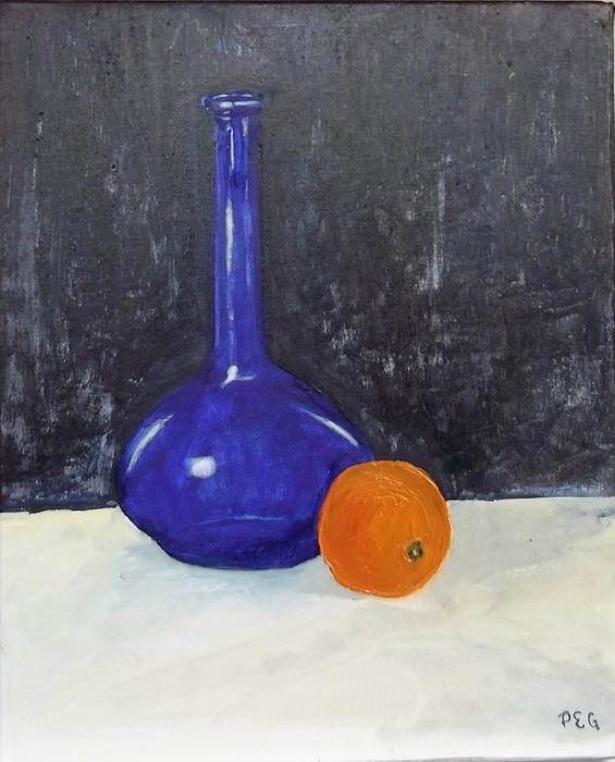 Still Life Painting - Blue Glass And Orange by Peter Edward Green