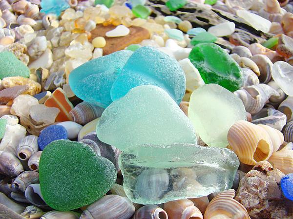 Decorative Photograph - Blue Green Sea Glass Coastal Art by Baslee Troutman