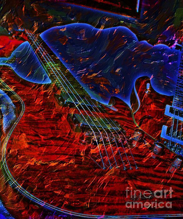 Acoustic Photograph - Blue Magic Digital Guitar Art By Steven Langston by Steven Lebron Langston