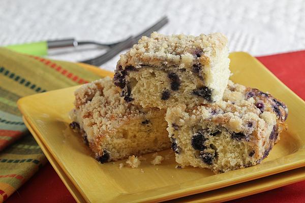 Plate Photograph - Blueberry Coffeecake by Sarah Christian