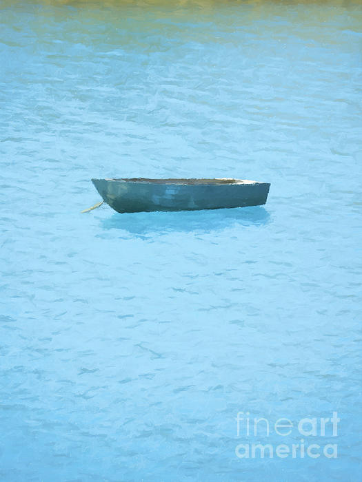 Boat Painting - Boat On Blue Lake by Pixel Chimp
